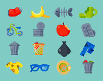 Household waste garbage icons vector illustration trash recycling ecology environment isolated recycle concept plastic. Vector drawings set of waste and garbage Stock Photo