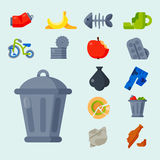Household waste garbage icons vector illustration trash recycling ecology environment isolated recycle concept plastic. Vector drawings set of waste and garbage Royalty Free Stock Photography