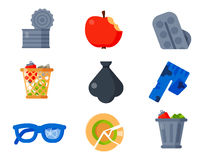 Household waste garbage icons vector illustration trash recycling ecology environment  recycle concept plastic. Vector drawings set of waste and garbage for Stock Image