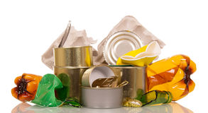 Household waste: plastic, glass bottles, cans and cardboard on white. royalty free stock image