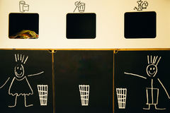 Household waste sorting and recycling kitchen bins. Close up stock images