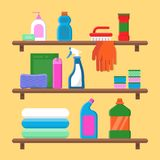 Households goods shelves. Chemical detergent bottles in laundry service room vector flat composition royalty free illustration