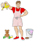 Househusband is busy doing housework Royalty Free Stock Photography