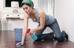 Housekeeper Maid Sings While Spot Cleaning Floor Royalty Free Stock Photos
