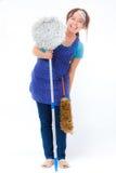 Housekeeper. Asian housekeeper shooting in studio Stock Photo