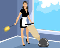 Housekeeper cleans room Stock Photography