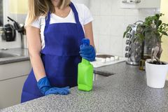 Housekeeper holding cleaning products in kitchen stock photos