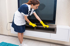 Housekeeper or maid cleaning a cabinet Stock Photography