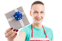 Housekeeper or maid showing the gift she received Royalty Free Stock Images