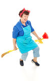 Housekeeper Riding Broom Stock Photos
