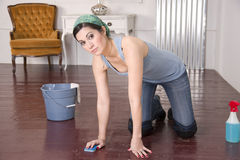 Maid Housekeepers Washes Wood Floor Hands Knees Royalty Free Stock Photos