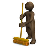 Housekeeper sweeping with broom Royalty Free Stock Photo