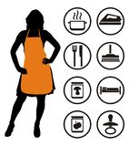 Housekeeping. Housewife and housekeeping icons. Vector illustration Stock Photo