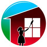 Housekeeping. Illustrated colourful silhouette image Stock Image