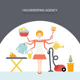 Housekeeping Agency. Busy housekeeper simultaneously doing many tasks around the house. House work concept illustration made in . Young pretty girl doing house Stock Photos