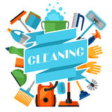 Housekeeping background with cleaning icons. Image can be used on advertising booklets Stock Images
