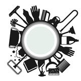 Housekeeping background with cleaning icons. Image can be used on advertising booklets, banners, flayers, article Stock Images