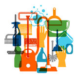 Housekeeping background with cleaning icons. Image can be used on advertising booklets, banners, flayers, article Royalty Free Stock Photography