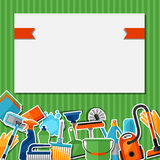 Housekeeping background with cleaning sticker icons. Image can be used on advertising booklets, banners, flayers Stock Photo