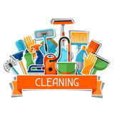 Housekeeping background with cleaning sticker icons. Image can be used on advertising booklets, banners, flayers Royalty Free Stock Photo