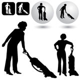 Housekeeping Buttons. An image of a housekeeping buttons and silhouettes Royalty Free Stock Photos