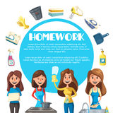 Housekeeping cartoon poster with woman housewife Stock Photography