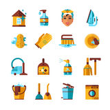 Housekeeping Cleaning Flat Icons Set Royalty Free Stock Photography