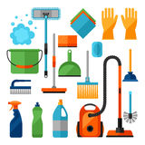 Housekeeping cleaning icons set. Image can be used on banners, web sites, designs Stock Image