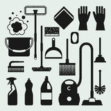 Housekeeping cleaning icons set. Image can be used on banners, web sites, designs Royalty Free Stock Photography