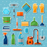 Housekeeping cleaning sticker icons set. Image can be used on banners, web sites, designs Stock Photo
