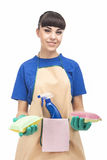 Housekeeping Concept: Young caucasian Housewife With Sponges and Stock Image