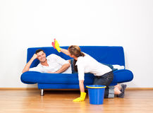 Housekeeping couple Royalty Free Stock Images