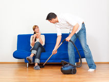 Housekeeping couple Stock Image