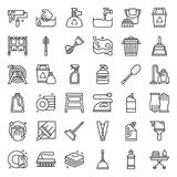 Housekeeping equipment related icon set. Outline icon Royalty Free Stock Images