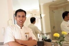 Housekeeping in hotel bath room royalty free stock image