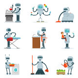Housekeeping Household Robot Doing Home Cleanup And Other Duties Series Of Futuristic Illustration With Servant Android Royalty Free Stock Images