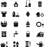 Housekeeping icons. Black and white glyph flat icons relating to cleaning and housekeeping Royalty Free Stock Photos