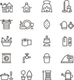 Housekeeping icons. Black and white outline icons relating to housekeeping Stock Image
