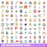 100 housekeeping icons set, cartoon style Stock Image