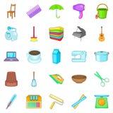 Housekeeping icons set, cartoon style Stock Photo