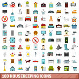 100 housekeeping icons set, flat style Stock Image