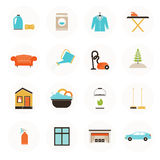 Housekeeping Icons. Set of modern housekeeping icons, including vacuum cleaning, carpet clean, window, garage, car, furniture, ironing, dust removal, plant care Royalty Free Stock Photography