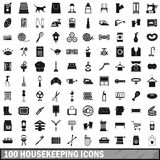 100 housekeeping icons set, simple style. 100 housekeeping icons set in simple style for any design vector illustration Stock Image