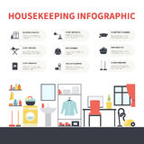 Housekeeping Infographic. Modern housekeeping infographic. Perfect design to show work around the house for journal, blog or housekeeping agency. Modern flat Royalty Free Stock Image