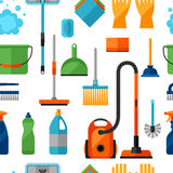Housekeeping lifestyle seamless pattern with cleaning icons. Background for backdrop  Stock Image