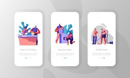 Housekeeping People Clean Home. Put Clothes to Washing Machine, Wiping Floor and Cleaning Dishes. Mobile App Page Onboard Screen. Set Concept for Website or Web vector illustration