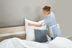 Housekeeping worker putting white pillows Royalty Free Stock Image