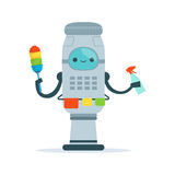 Housemaid android character cleaning home vector Illustration Royalty Free Stock Images
