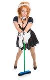 Housemaid bonito novo com vassoura Fotos de Stock Royalty Free