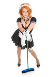 Housemaid with broom Royalty Free Stock Photo